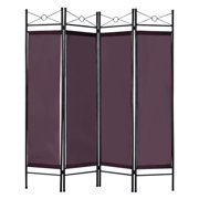 Costway 4 Panel Room Divider Privacy Screen Home Office Fabric Metal Frame
