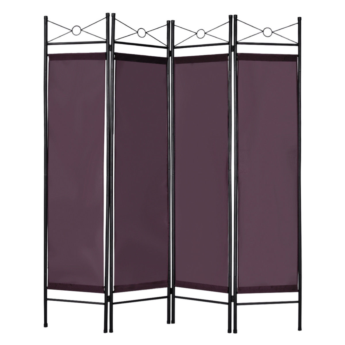 Costway 4 Panel Room Divider Privacy Screen Home Office Fabric Metal