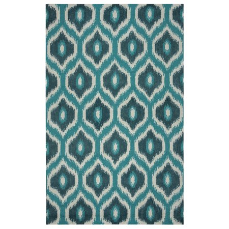 gatney rugs homestead area rugs rp8737 contemporary blue teal dark teal wool damask tufted. Black Bedroom Furniture Sets. Home Design Ideas