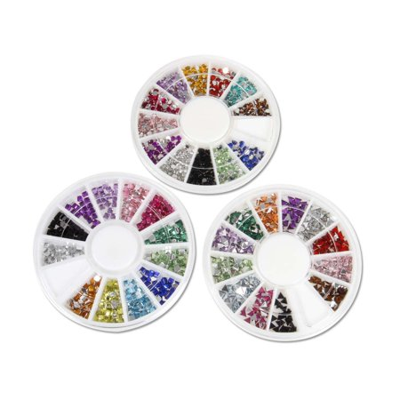 BMC 500pc Mixed Colors Acrylic Nail Art Multi Decorations Studs - 3 Wheel Sets for $<!---->