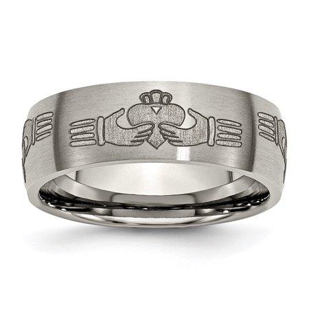 - Titanium 8mm Laser Design Brushed Wedding Ring Band Size 7.50 Designed Celtic Fashion Jewelry For Women Gift Set