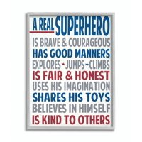 The Kids Room by Stupell Typography Art Wall Plaque, A Real Superhero Framed Wall Art by Words for the Soul
