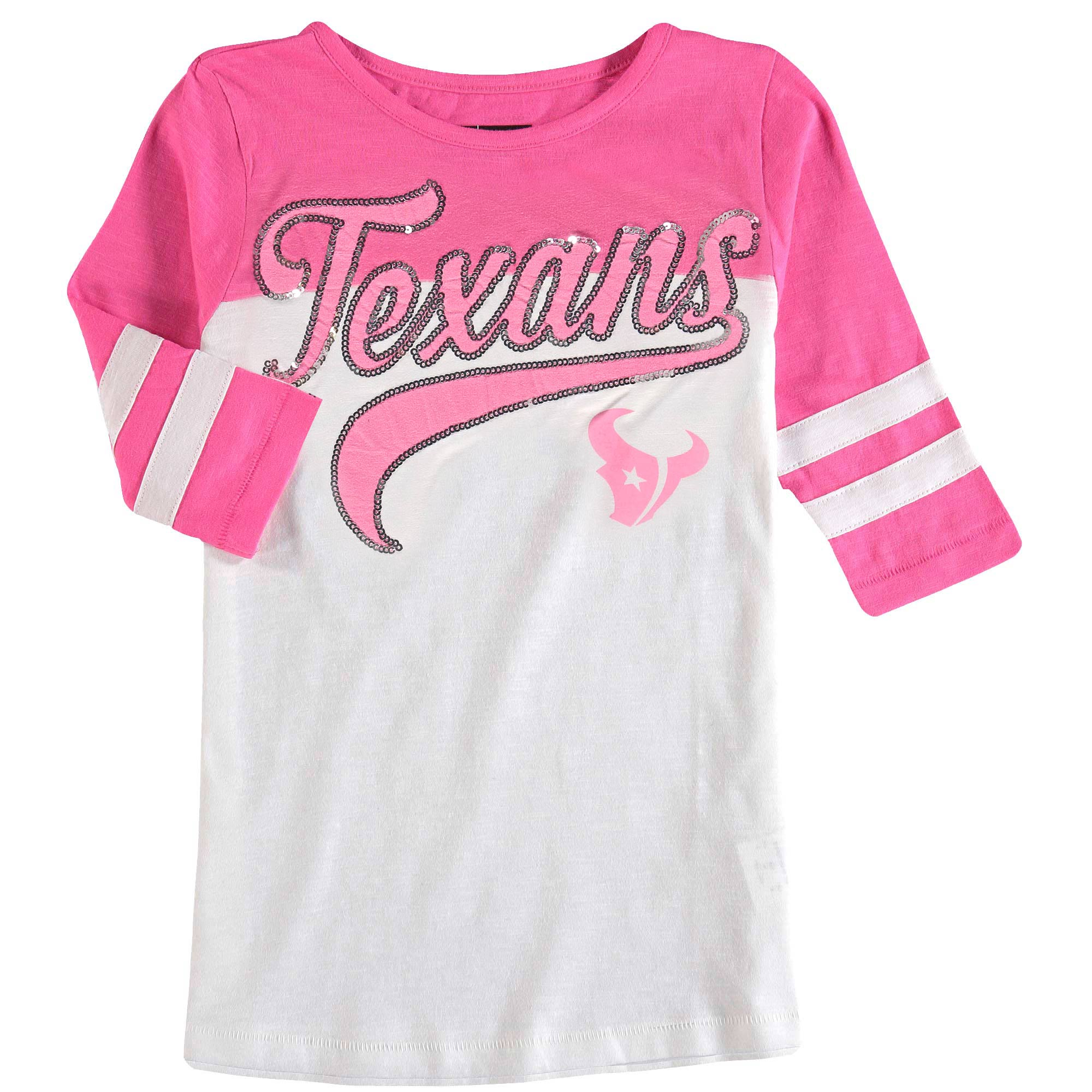 Houston Texans 5th & Ocean by New Era Girls Youth Jersey Slub 3/4-Sleeve T-Shirt - White/Pink