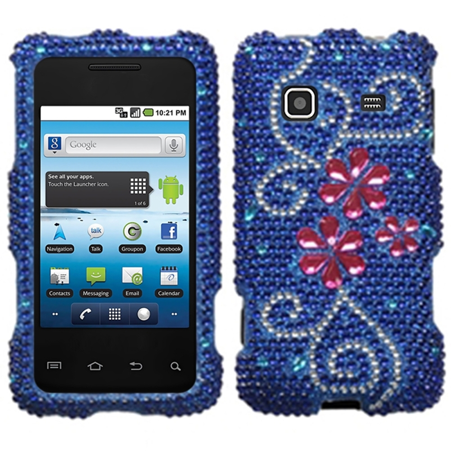 Insten Juicy Flower Diamante Case for SAMSUNG: M820 (Galaxy Prevail)