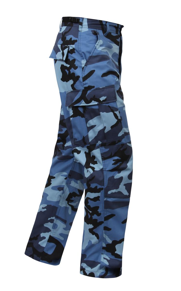 Sky Blue Camo BDU Pants, Military Fatigues by Rothco