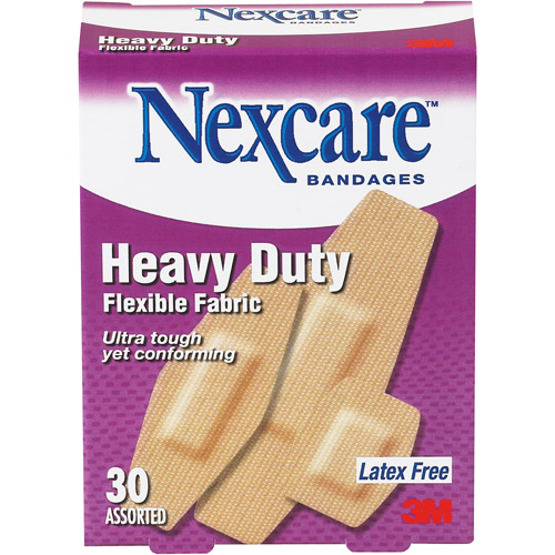 Nexcare Assorted Heavy Duty Flexible Fabric Bandages, 30pk