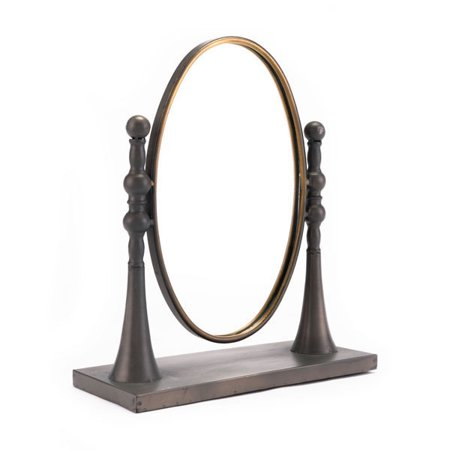 Circle Mirror With Stand Black & Gold ()