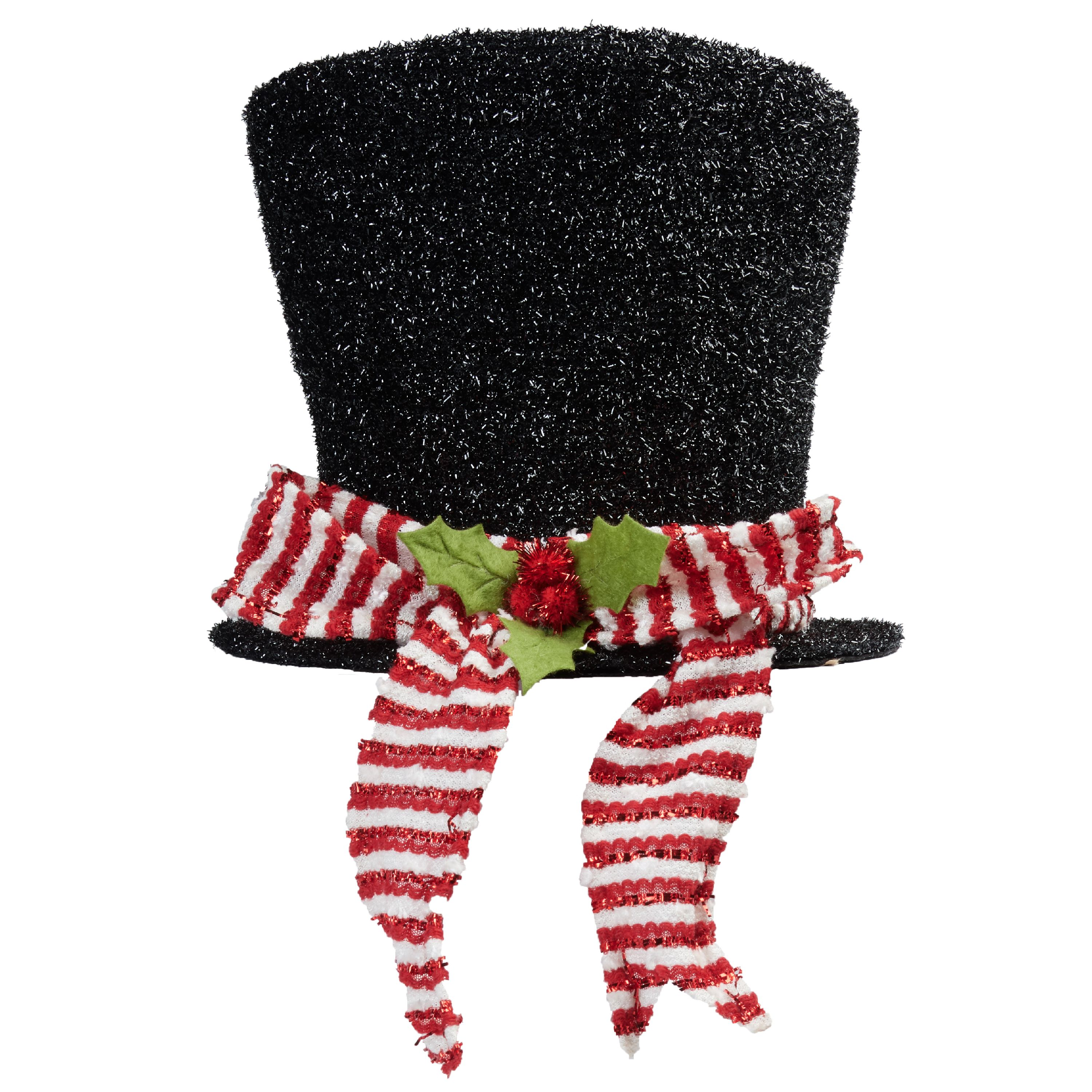 Holiday Time Top Hat Tree Topper Black Metallic with Red and White Scarf