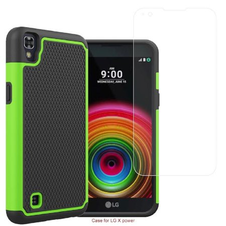 SOGA [Smart Defender Series] Shockproof Slim Hybrid Grid Armor Case for LG X Power - Green