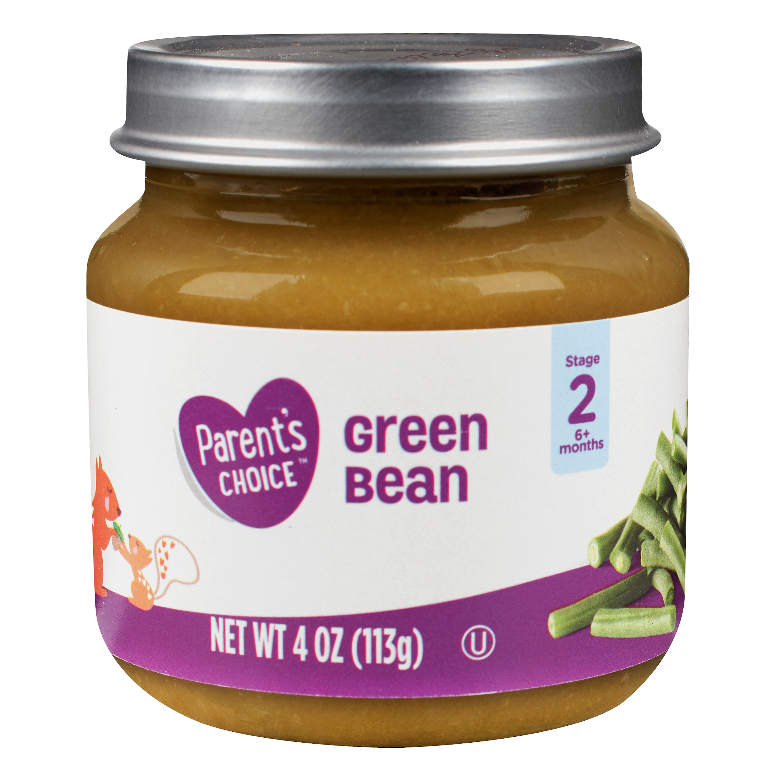 Parent's Choice Baby Food, Green Beans, Stage 2, 4 oz