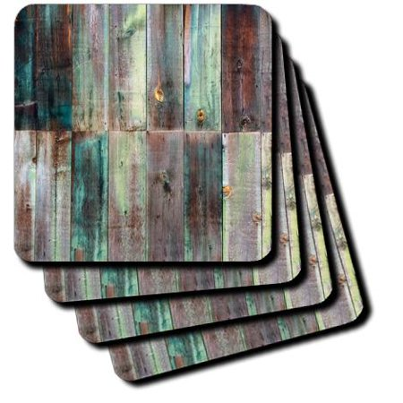 3dRose Photograph Of Turquoise and Brown Distressed Wood, Soft Coasters, set of 8