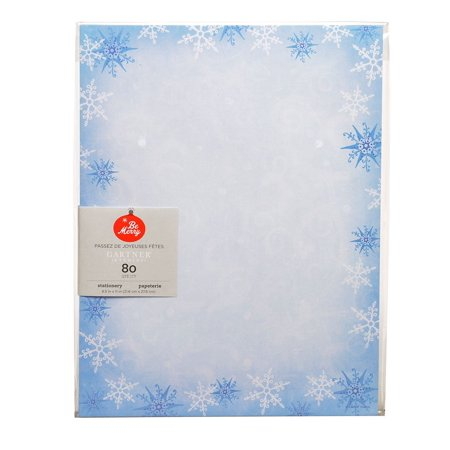 Gartner Studios Blue Snowflake Stationery Paper, 80 count