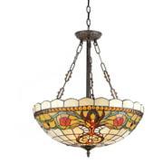 "Chloe Lighting Berleena Tiffany-Style 3-Light Victorian Inverted Hanging Pendant Fixture with 20"" Shade"