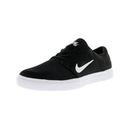 Nike Men's Sb Portmore Ultralight Black / White-Black Ankle-High  Skateboarding Shoe -