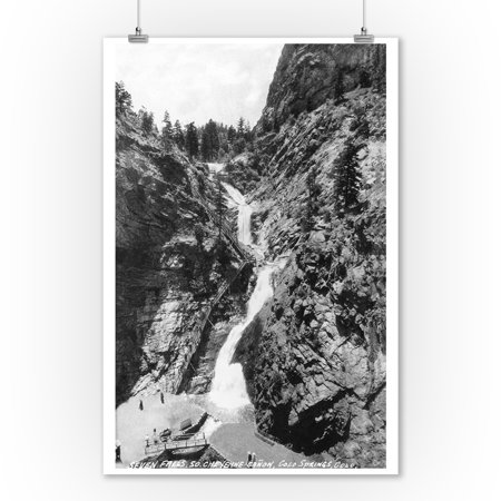 Colorado Springs, Colorado - View of Seven Falls in the South Cheyenne Canyon (9x12 Art Print, Wall Decor Travel - Seven Falls Colorado Springs