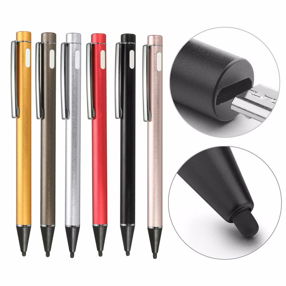 2.0mm Active Capacitive Stylus Pen, USB Charge Electronic Active Stylus Digital Pen for All Capacitive Touch Screen Devices Smartphones