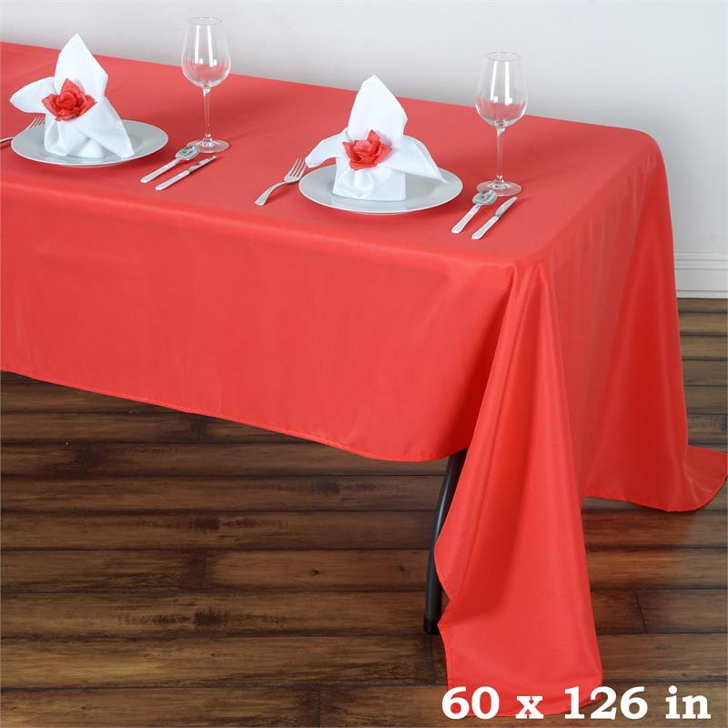 """Ivory POLYESTER 60x126/"""" Rectangular TABLECLOTH High Quality Wedding Catering"""