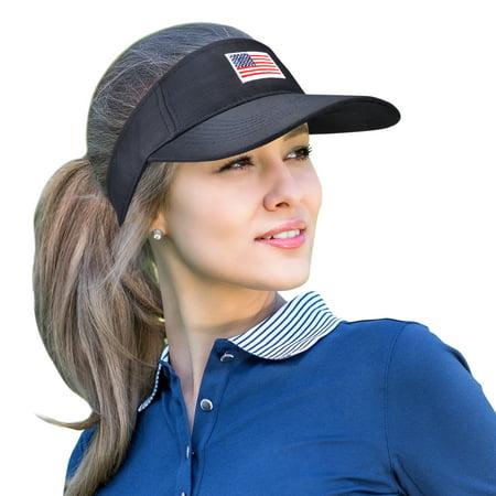 4bd86fab Unisex American Flag Sun Visor Adjustable Patriotic Sports Tennis Golf Cap  Navy - Walmart.com