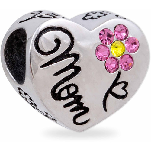 Connections from Hallmark Stainless Steel Mom Crystal Heart Charm