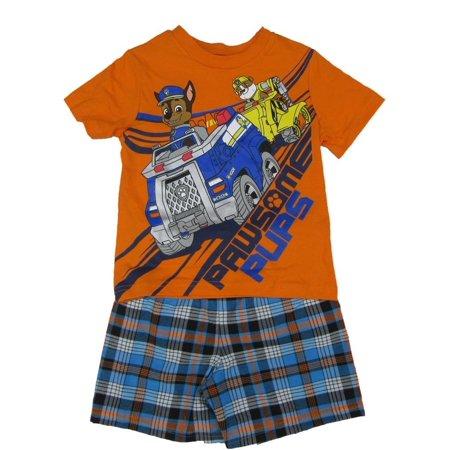 2 Orange Boy Shorts (Nickelodeon Little Boys Orange Blue Paw Patrol Print 2 Pc Shorts Outfit )