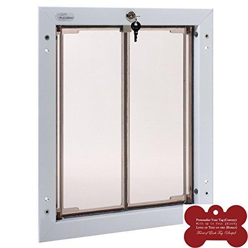 Plexidor Exterior Pet Door Large - White Door Mounted - Energy Efficient and Secure Dog Door