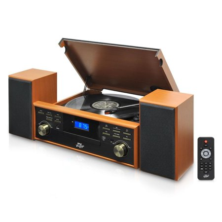 Pyle Home Vintage Retro Classic Style BT Turntable Speaker System with Vinyl/MP3 Recording