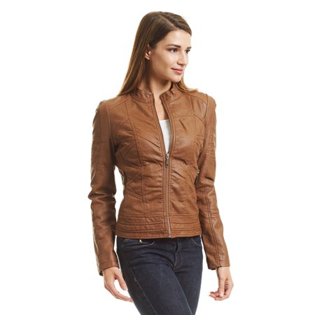 3c286597e09 Made by Johnny - WJC746 Womens Vegan Leather Motorcycle Jacket S CAMEL -  Walmart.com