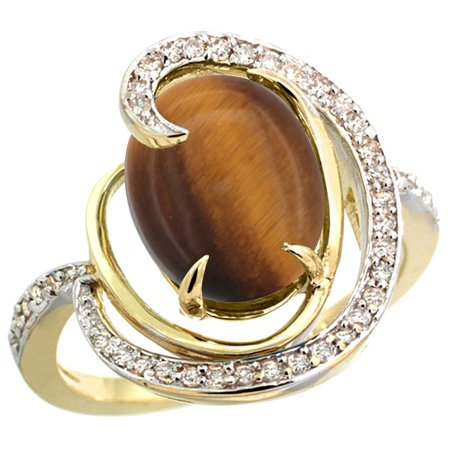 14k Yellow Gold Natural Tiger Eye Ring Oval 12x10mm Diamond Accents, size 9.5