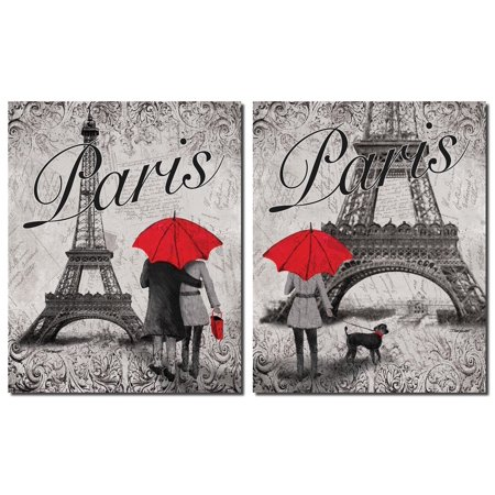 - Gango Home Decor Strolling in Paris Eiffel Tower and Red Umbrella Wall Art by Todd Williams; Two Black and White 11x14in Unframed Paper Prints (Paper Only, No Frame)