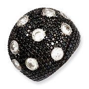 Sterling Silver White & Black CZ Brilliant Embers Ring
