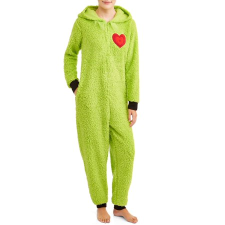 Grinch Women's and Women's Plus Sherpa Union Suit