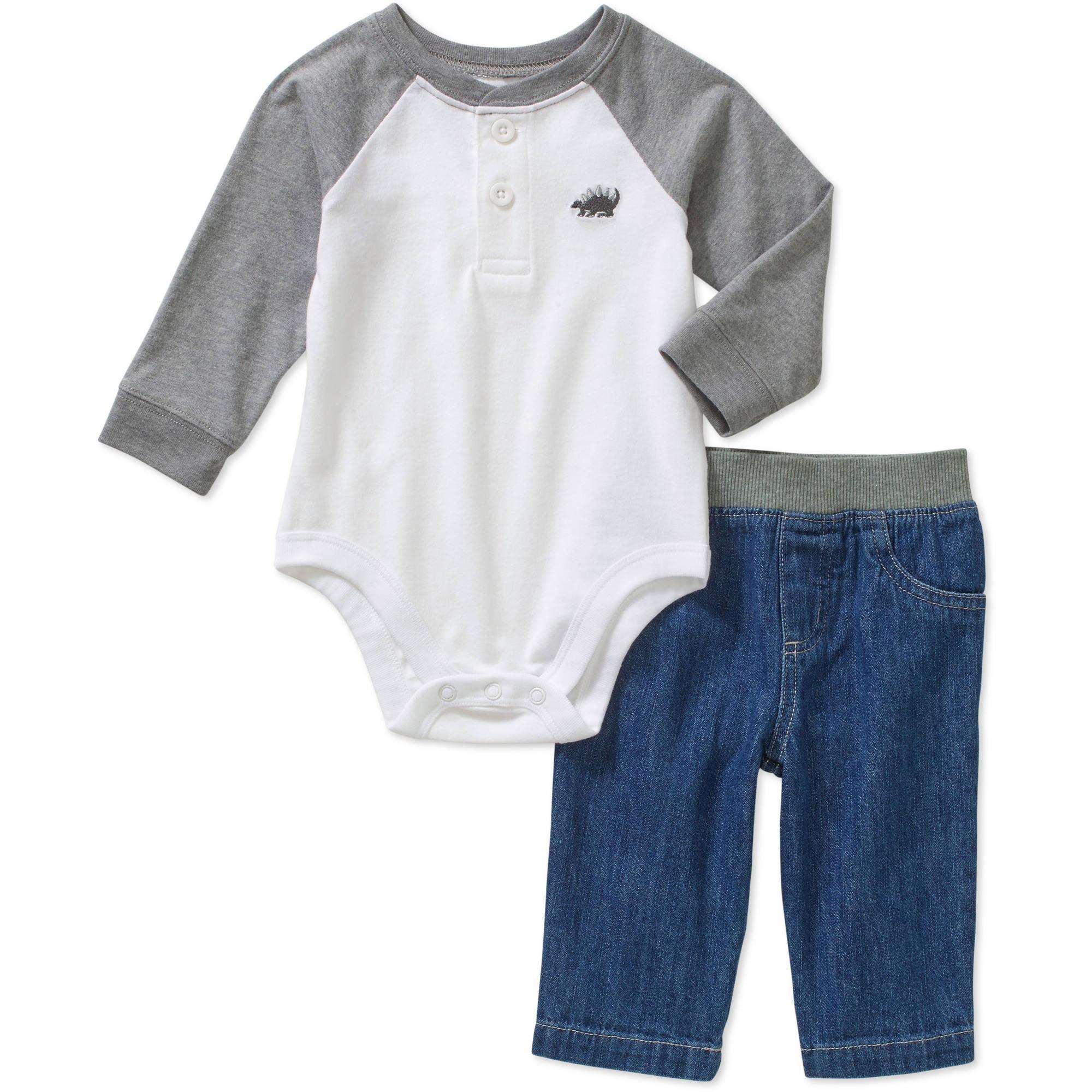 Garanimals Newborn Baby Boys' Sueded Jersey Raglan Bodysuit and Woven Pants 2-Piece Outfit Set