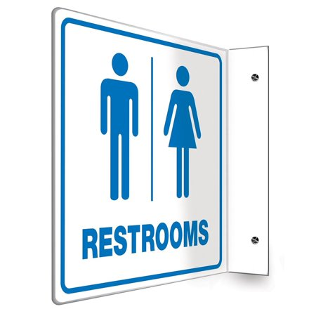 "PSP741 Projection Sign 90D, Legend ""RESTROOMS"" , 8"" x 8"" Panel, 0.10"" Thick High-Impact Plastic, Pre-Drilled Mounting Holes, Blue on White, 90D Projection.., By Accuform Signs"