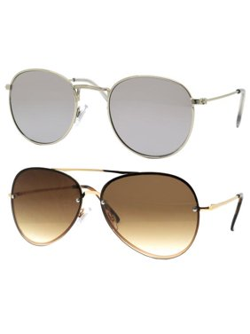 2111345e72 Product Image Time and Tru Women s Metal Sunglasses 2-Pack Bundle  Round  Sunglasses and Aviator Sunglasses