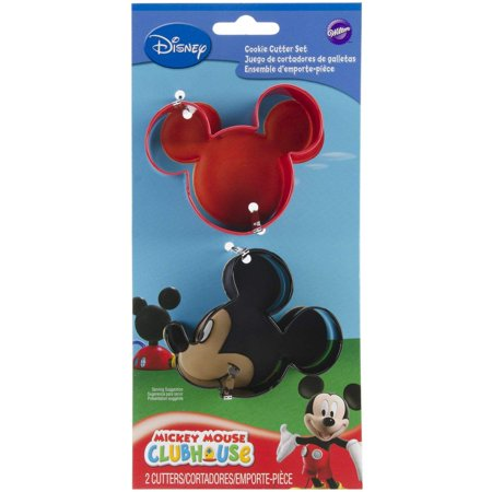 Mickey Mouse Cookie Cutter Set, Set includes 2 shaped cutters: mickey face and mickey ears, each approximately 3-inch By Wilton - Mickey Mouse Cookie Cutter Set