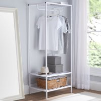 Deals on Mainstays Modern Farmhouse Slim Garment Rack White