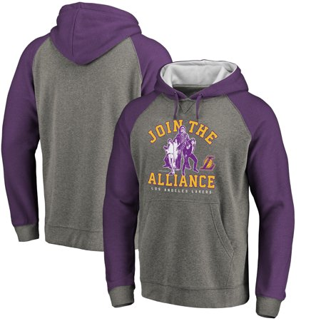 Los Angeles Lakers Fanatics Branded Star Wars Alliance Raglan Sleeve Pullover Hoodie - Heathered Gray