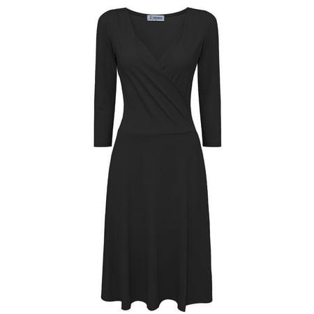 Sleeve Surplice Dress (TAM WARE Women Stylish Surplice Neckline 3/4 Sleeve Skater Dress )