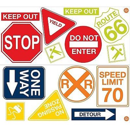 Road Signs 14 Wall Decals Cars Traffic Room Decor Stop Sd Limit Stickers