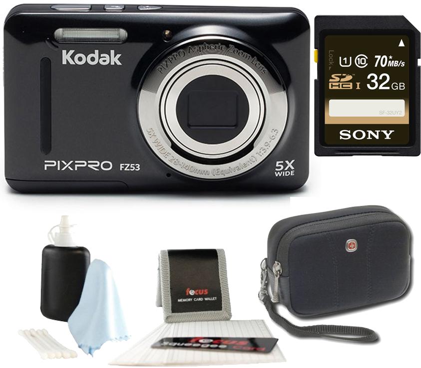 Kodak PIXPRO Friendly Zoom FZ53 (Black) + SanDisk Ultra 32GB Class 10 70MB s SDHC Memory by Kodak