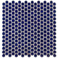 Denarius Penny Round Royal Blue Ceramic Polished Mosaic Tile