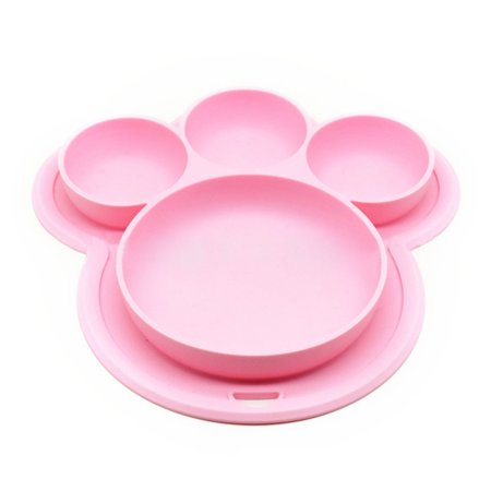 Kid Plates, Justdolife Cute Bear Paw Shape Suction Silicone Food Fruits Divided Plate Dinner Plate Dish Bowl Tableware Birthday Gift Toy for Kids Baby Toddler Boys Girls Home Travel Birthday Boy Dinner Plate
