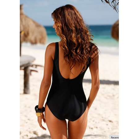 35f7516a76678 Senfloco Women s M-4XL Padded Plus Size Swimwear Plunge Neckline Swimsuit  Bathing Suit with Shoulder Straps - Walmart.com