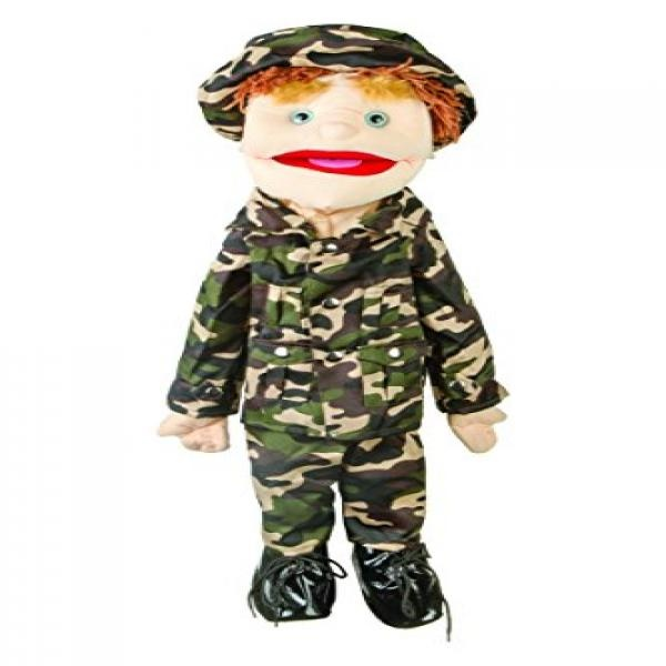Sunny Toys GS4615 28 In. Brunette-Haired Boy In Army Uniform, Full Body Puppet by Sunny Toys