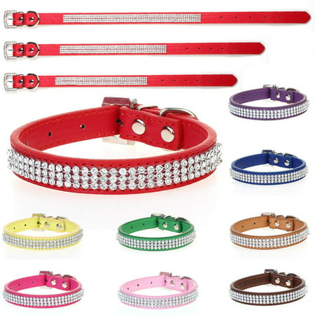 Adjustable Dog Collar, Rhinestones Diamante Crystal Band Pu Leather Bling Puppy Dog Cat Pet Collar Tag Unique Design