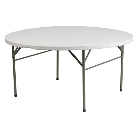 Flash Furniture 60'' Round Bi-Fold Granite White Plastic Folding Table