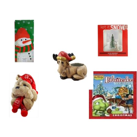 Holiday Fruitcake - Christmas Fun Gift Bundle [5 Piece] - Assorted  Cello Bags With Ties - Let It Snow Glass Ornament Deer - Creation House Co., LTD Sad  Moose Planter - Commonwealth Shar pei   14