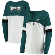 Philadelphia Eagles New Era Women's Athletic Varsity Lace-Up Long Sleeve T-Shirt - Midnight Green/White