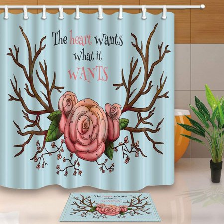 ARTJIA Inspirational Language Home Decor Pink Rose with Wooden Branches Shower Curtain 66x72 inches with Floor Doormat Bath Rugs 15.7x23.6 inches - Buy Wooden Roses