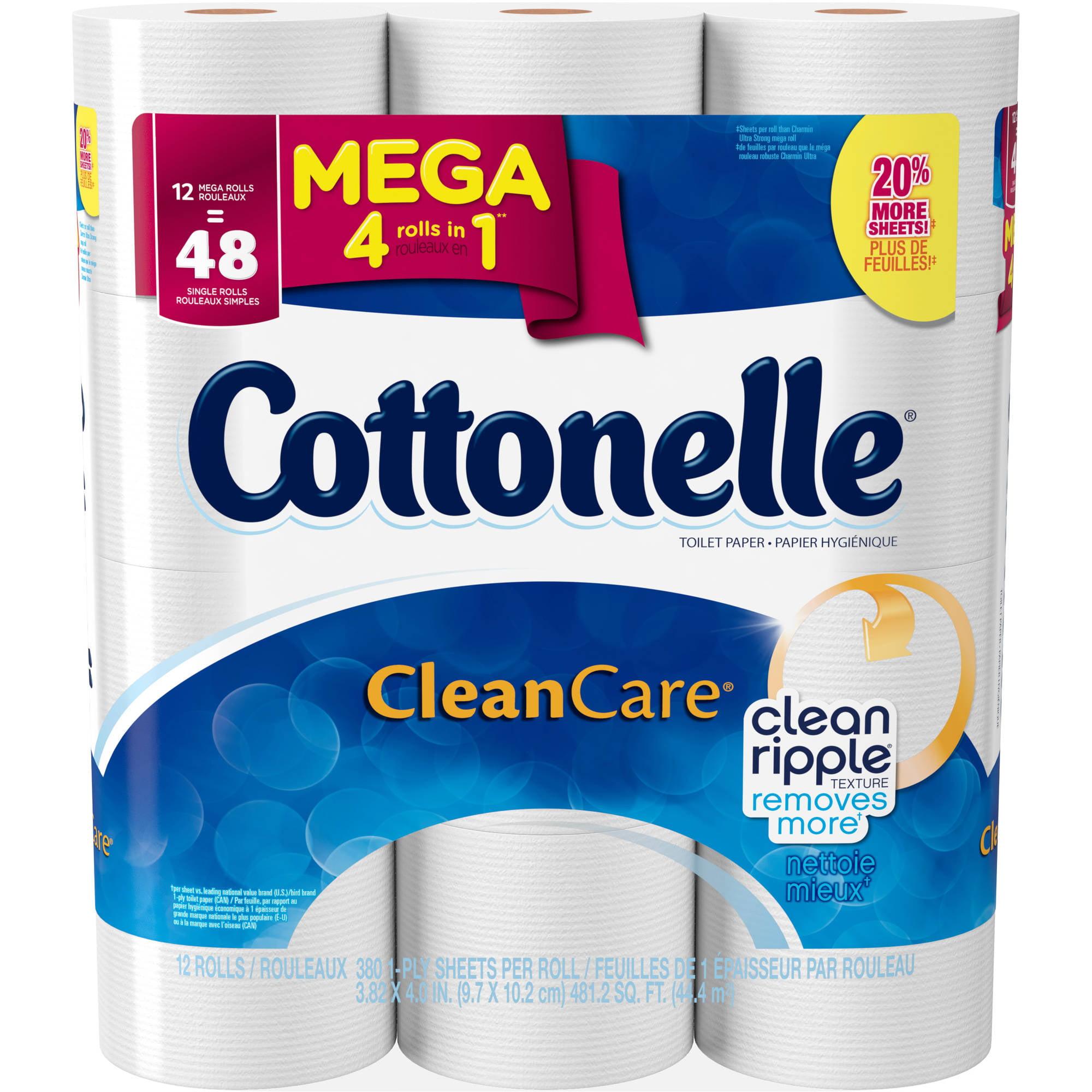 Cottonelle Clean Care Toilet Paper, 12 Mega Rolls - Walmart.com